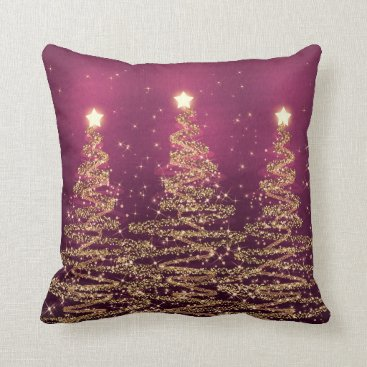 Christmas Themed Elegant Christmas Sparkling Trees Pink Purple Throw Pillow