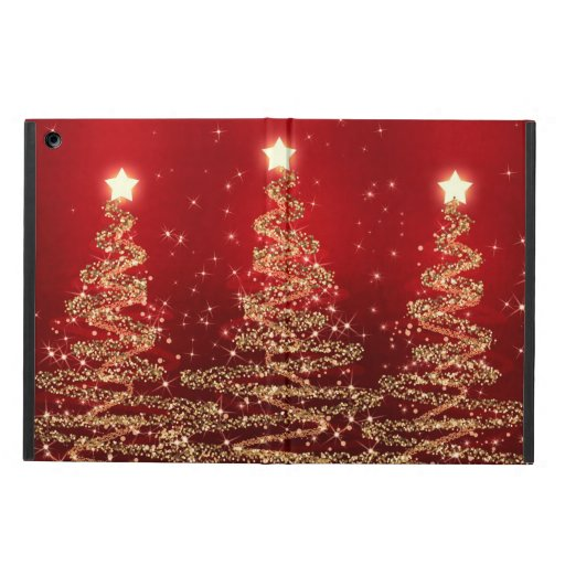 Elegant Christmas Sparkling Trees Red Case For iPad Air