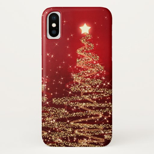 Elegant Christmas Sparkling Trees Red iPhone X Case