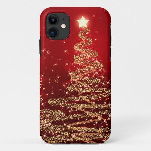 Elegant Christmas Sparkling Trees Red Phone Case