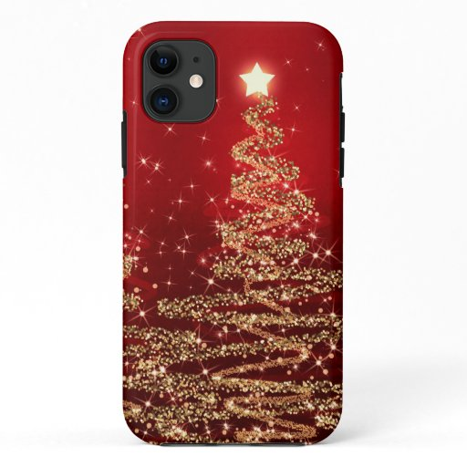 Elegant Christmas Sparkling Trees Red iPhone 11 Case