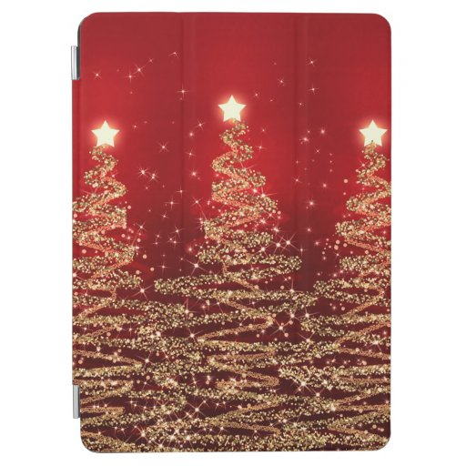 Elegant Christmas Sparkling Trees Red iPad Air Cover