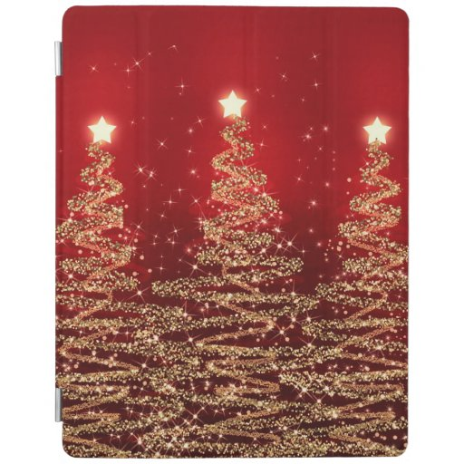 Elegant Christmas Sparkling Trees Red iPad Smart Cover