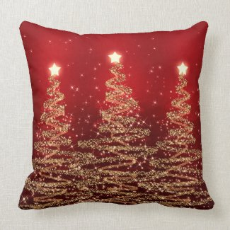 Elegant Christmas Sparkling Trees Red Throw Pillows