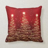 Elegant Christmas Sparkling Trees Red Throw Pillows