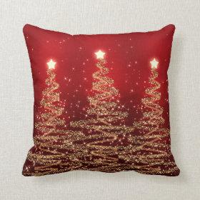 Elegant Christmas Sparkling Trees Red Pillow
