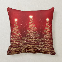Elegant Christmas Sparkling Trees Red Throw Pillow