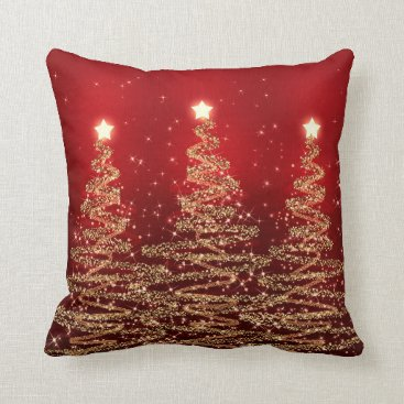 Christmas Themed Elegant Christmas Sparkling Trees Red Throw Pillow