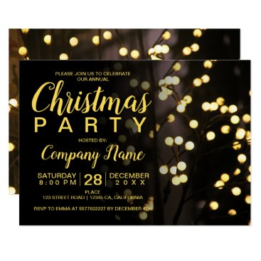 Professional Business Elegant Christmas string lights business corporate Card