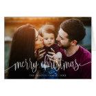 Elegant Christmas Text Photo Greeting Card   White