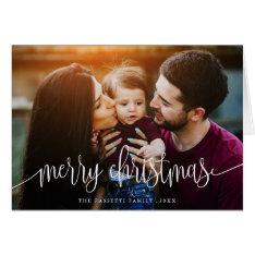 Elegant Christmas Text Photo Greeting Card | White at Zazzle