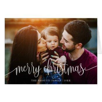 Elegant Christmas Text Photo Greeting Card   White by Orabella at Zazzle