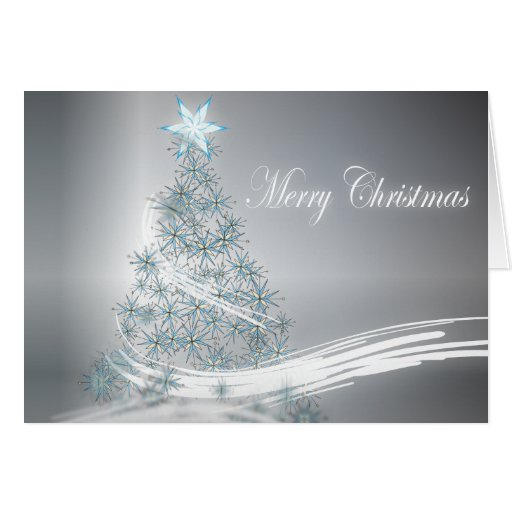 Elegant Christmas Tree and  Silver Star Greeting Card