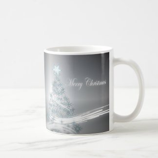 Elegant Christmas Tree and  Silver Star Mugs