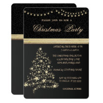 Elegant Christmas Tree,Black,Christmas Party Invitation