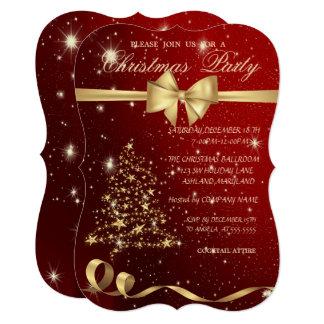 Elegant Christmas Tree ,Bow,Red,Christmas Party Invitation