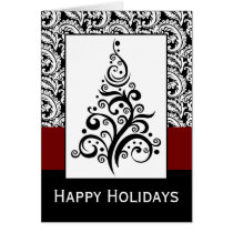 elegant christmas tree damask Holiday Cards