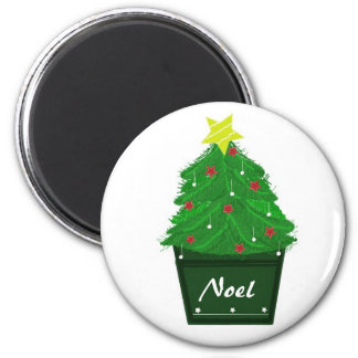 Elegant  Christmas Tree in Planter 2 Inch Round Magnet
