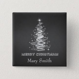 Elegant Christmas Tree Name Black Custom Button