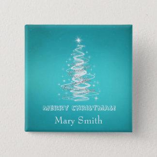 Elegant Christmas Tree Name Blue Custom Pinback Button