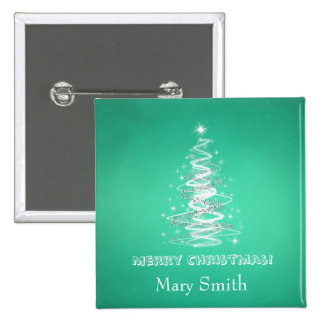 Elegant Christmas Tree Name Green Custom Button