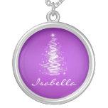 Elegant Christmas Tree Name Lavender Purple Necklaces