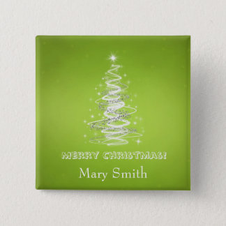 Elegant Christmas Tree Name Lime Green Custom Button