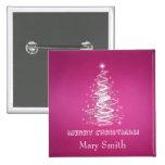 Elegant Christmas Tree Name Pink Custom Buttons