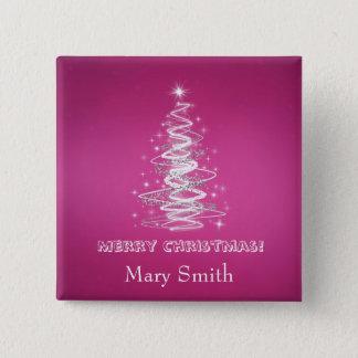 Elegant Christmas Tree Name Pink Custom Pinback Button