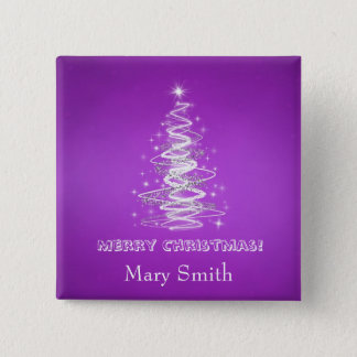 Elegant Christmas Tree Name Purple Custom Button