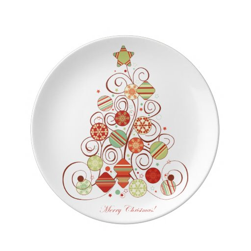 Elegant Christmas Tree Porcelain Plates Zazzle