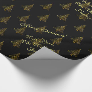 Elegant Christmas Tree Striped Pattern Black Gold Wrapping Paper