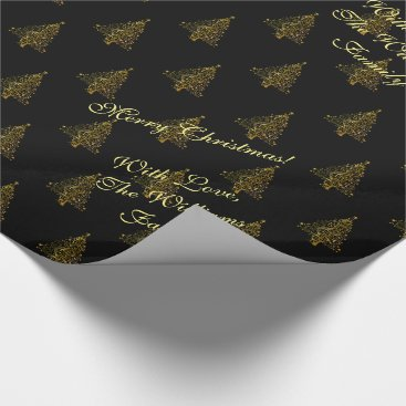 Christmas Themed Elegant Christmas Tree Striped Pattern Black Gold Wrapping Paper