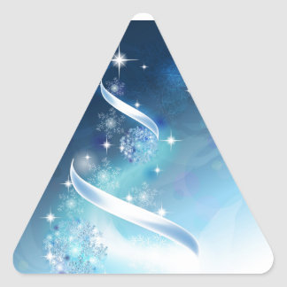 Elegant Christmas Tree with robins Triangle Sticker