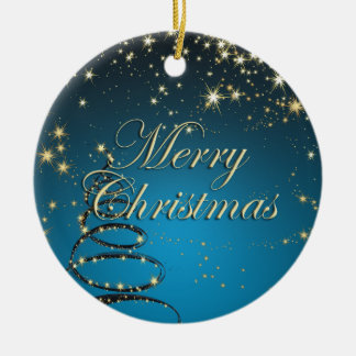 Elegant Christmas Tree with Stars Ormanent Double-Sided Ceramic Round Christmas Ornament