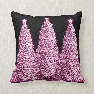 Elegant Christmas Trees Pink Throw Pillow