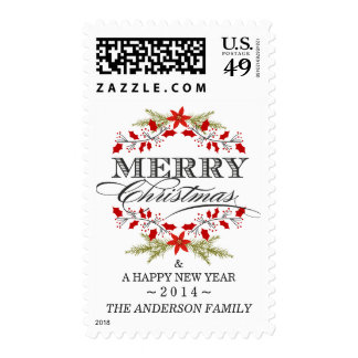 Elegant Christmas Typography Holly Wreath Postage