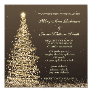 Elegant Christmas Wedding Gold Brown Card