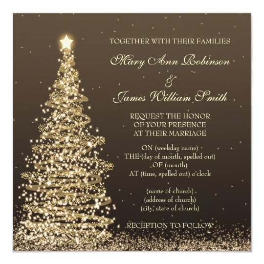Elegant Christmas Wedding Gold Brown Invitation Zazzle Com