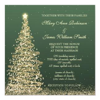 Elegant Christmas Wedding Gold Green 5.25x5.25 Square Paper Invitation Card