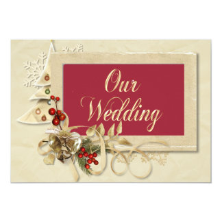Elegant Christmas Wedding Invitation With Tree