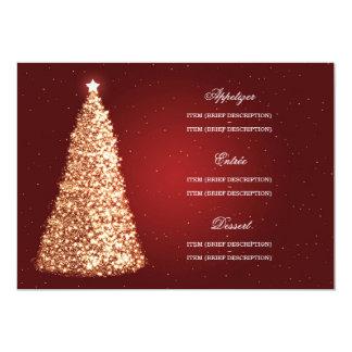 Elegant Christmas Wedding Menu Gold Red Card