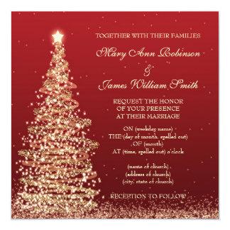 Elegant Christmas Wedding Red Invitation