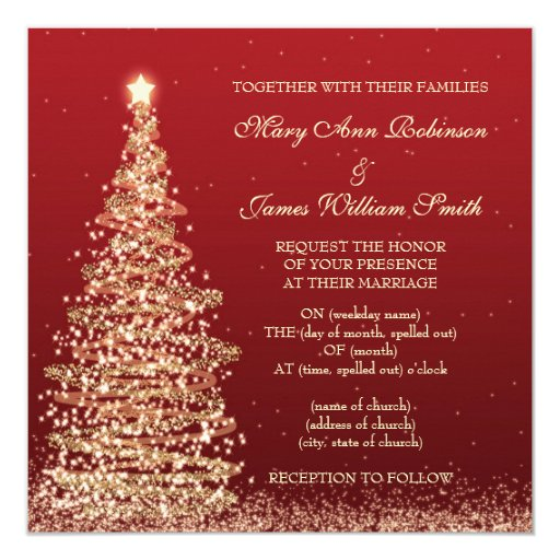 Elegant Christmas Wedding Red Invitation