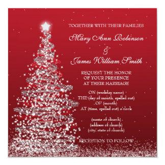 Elegant Christmas Wedding Red Silver Card