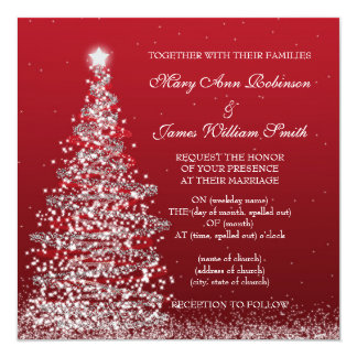 Elegant Christmas Wedding Red Silver Invitation