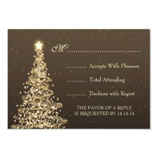 Elegant Christmas Wedding RSVP Gold Brown Announcement