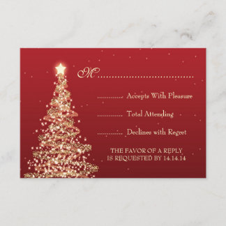 Elegant Christmas Wedding RSVP Red