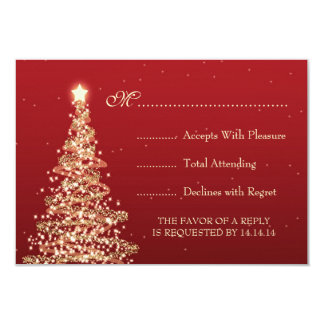 Elegant Christmas Wedding RSVP Red 3.5x5 Paper Invitation Card