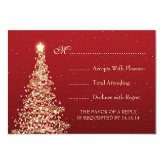 Elegant Christmas Wedding RSVP Red Card
